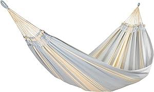 Amalyssa–Hamaca Doble Deluxe Cielo Ecru & Azul–Lienzo Resistente–Confort & solidité–Secado rápido–Lavable 30°–Hecho a Mano
