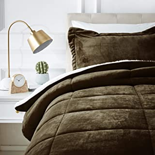 AmazonBasics Ultra-Soft Micromink Sherpa Comforter Bed Set - Twin, Chocolate