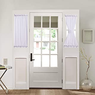 Home Brilliant Room Darkening French Door Panels Drapes for Privacy Set of 2, 30 Inch Wide x 40 Long, White