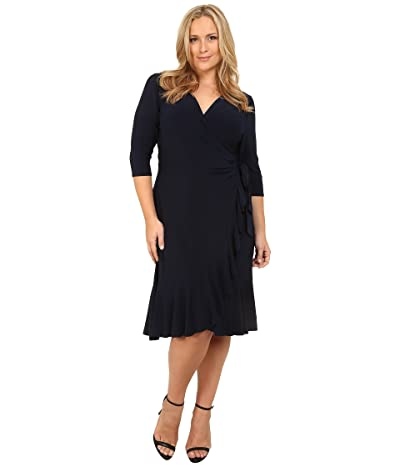 Kiyonna Whimsy Wrap Dress (Navy Blue) Women