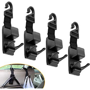 XBRN Car Hooks for Back Seat Headrest Hanger Hold Purse Grocery Bag Hat Cloth Coat 4 Pack