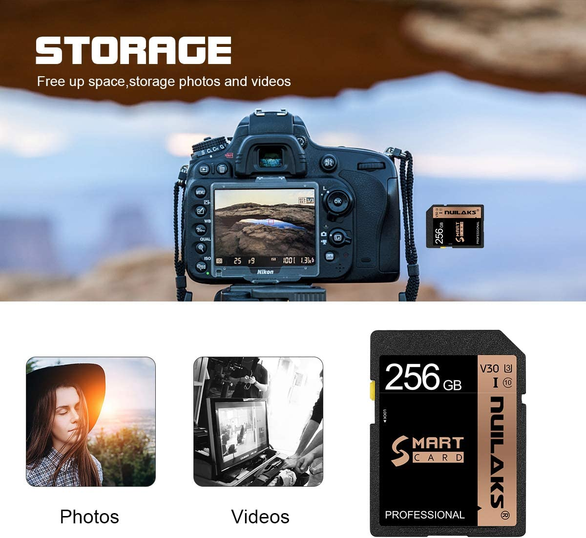 SD Card 256GB Memory Card Flash Memory Card Class 10 High Speed Security Digital Memory Card for Vloggers, Filmmakers, Photographers & Content Curators(256GB)…