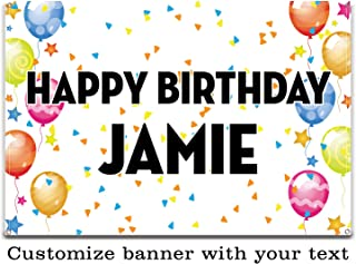 Buttonsmith Celebration Custom Vinyl Banner 2'x3' - Indoor/Outdoor - Personalize with Your Text - Designed, Printed, and Assembled in USA