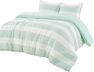 King Comforter Set 3 Piece Stripes Cotton Blend Soft Lightweight Down Alternative Beige Aqua Light Mint Green Sleek Modern...