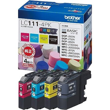ブラザー工業 【brother純正】インクカートリッジ4色パック LC111-4PK 対応型番:MFC-J877N、MFC-J727D/DW、DCP-J957N、DCP-J557N 他