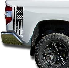 Matte Black Distressed American Flag USA Bedside Decals Vinyl Sticker: fits 2014-2018 Toyota Tundra