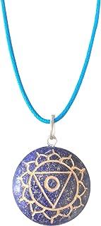 Artisan Crafted Natural Gemstone Disc Chakra Symbol Pendant Necklace ~ Handmade Jewellery Ethically Sourced ~ Gift Box (Lapis Lazuli - Throat Chakra)