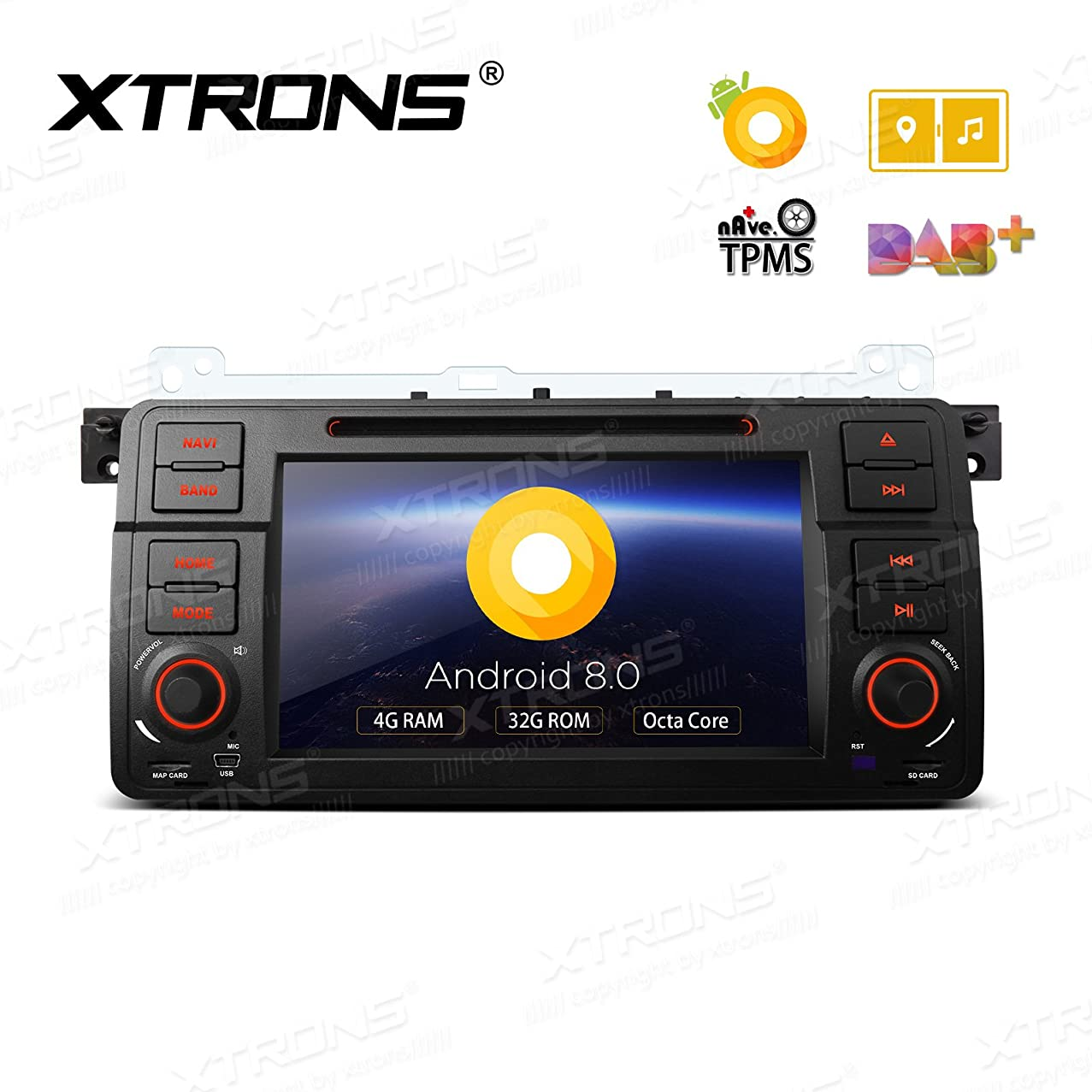 XTRONS 7 inch Android HD Digital Multi-Touch Screen OBD2 DVR Car Stereo DVD Player Tire Pressure Monitoring TPMS for BMW E46 M3 Rover75 (Android 8.0 4+32)