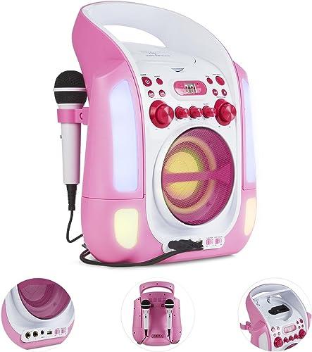 AUNA Kara Illumina - chaîne karaoké, Lecteur CD+G, Paire de Micro dynamiques, Port USB, Compatible MP3, Sortie Audio ...