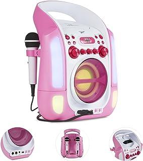 AUNA Kara Illumina - chaîne karaoké, Lecteur CD+G, Paire de Micro dynamiques, Port USB, Compatible MP3, Sortie Audio et vi...