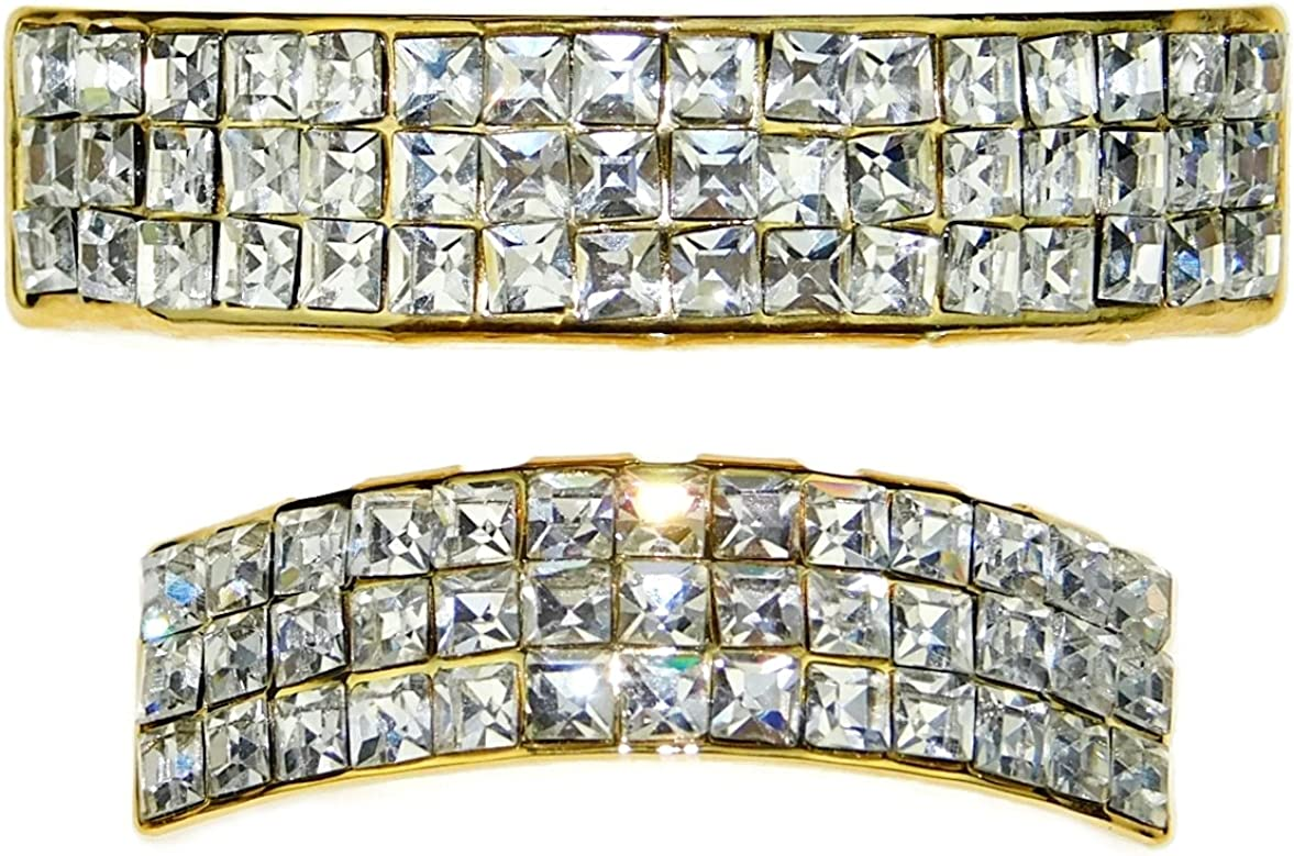 VIP Grillz Set Top and Bottom 14K Gold Plated Iced 3 Three Rows Square Stones Upper and Lower Grills