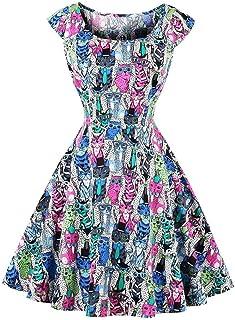 Filfeel Elegant Women's Retro Slim Dress Round-Neck Print Short Sleeveless Simple Dress