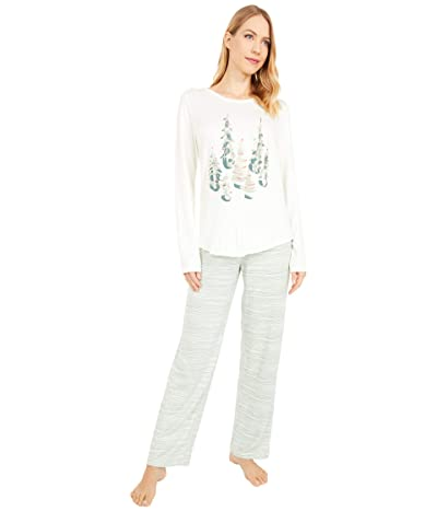 HUE Winterland Stripe Cozy Knit PJ Set (Off-White) Women