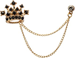 Lapel Pin for Men Stone Detailing Crown with Hanging Chain Collar Pin Brooch Suit Stud, Shirt Studs Men's Accessories