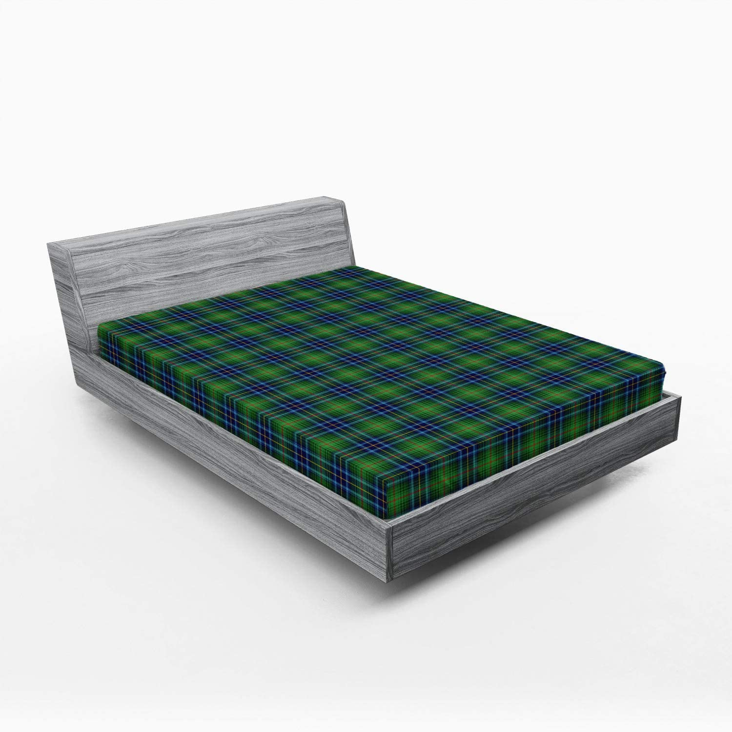 Bargain sale Ambesonne Plaid Fitted Sheet Grunge Looking Sco New products, world's highest quality popular! Vibrant Colored