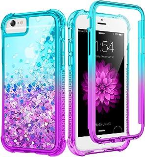 Caka - Funda para iPhone 6, 6S, 7, 8, SE 2020, con purpurina para niñas, mujeres, cuerpo completo, con protector de pantal...