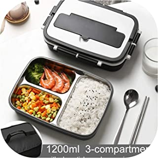 1200Ml Lunch Box School Thermal Food Container Kids Child Microwave Thermos Bento Boxes Stainless Steel Inner Portable Handle,Black2