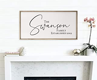 Personalized Framed Wooden Family Name Sign 9x18
