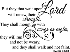 Newclew But They That Wait Upon The Lord Will Renew Their Strength. They Shall Mount up with Wings as Eagles They Will not be Weary - Isaiah 40:31 Removable Wall Sticker Décor Decal (30''W x 22''H)