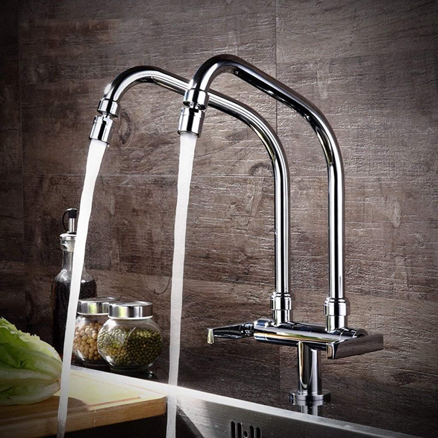 BMY Kitchen Sink Taps Modern Minimalist Pure Copper Kitchen Faucet Single Cold Type Universal Faucet Double Pipe Faucet Wash Basin Sink Can Be redated Faucet (Size   A)