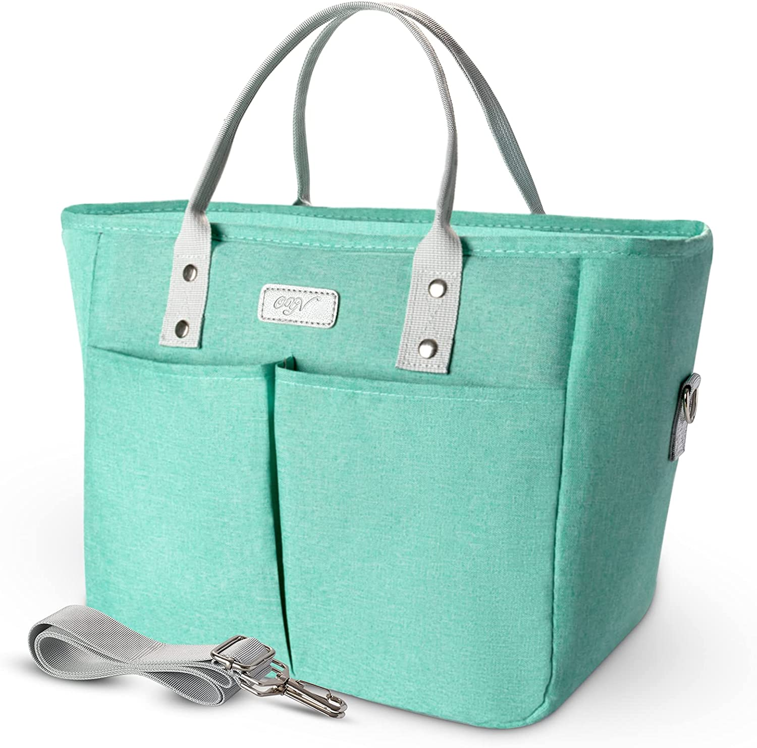 OYV Lunch Bag, Insulated Reusable Lunch Box, Adult Lunch Bags for Women with Adjustable Shoulder Strap for Work, School, Travel and Picnic (Aqua Green)
