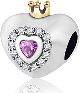 EVESCITY Crystal Princess Crowned Heart Bead for Charms Bracelets ♥ Best Jewelry Gifts for Holiday ♥