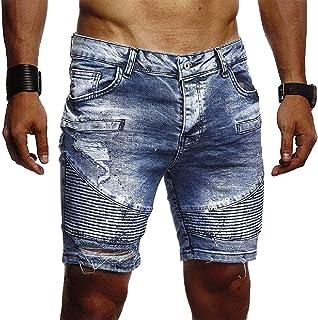 KLJR Men Straight Leg Roll-Up Casual Distressed Ripped Holes Denim Shorts Jeans