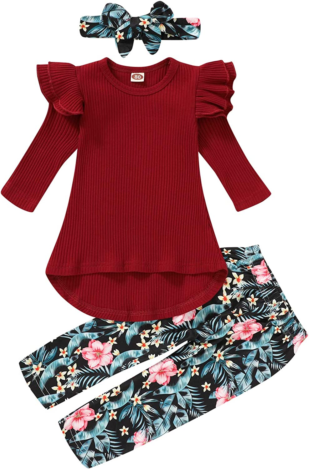 Toddler Girl Outfits Baby Girls Clothes Sets Autumn Irregular Tops Floral Pants with Headband Outfits