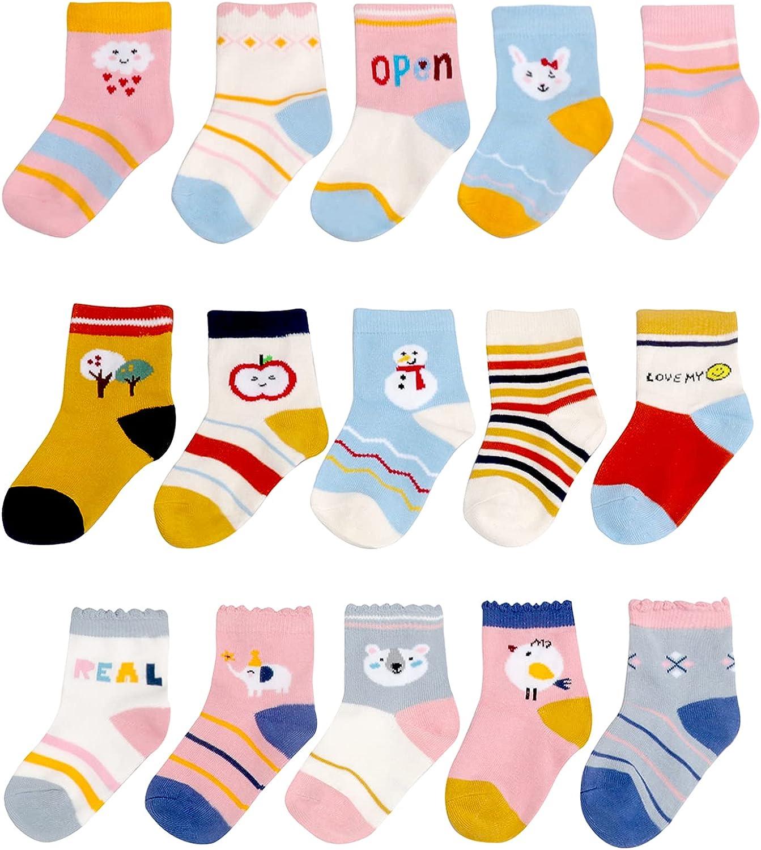 15 Pairs Baby Toddler Cartoon Cotton Crew Socks Kids Boys Girls Cozy Warm Novelty Dinosaur Animal Ankle Socks 1-9 Years
