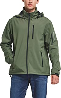 BALEAF Men's Softshell Jacket Waterproof Hiking Hunting Removable Hood Fleece Lined Coat