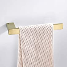 """BATHSIR Stainless Steel 24"""" Towel Bar,Brushed Gold Single Towel Rack Square Shape Wall Mounted"""