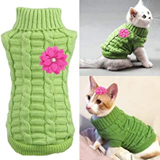 Aillion Cat Dog Sweater for Cats and Small Dogs, Warm Soft Cat Dog Turtleneck Braid Plait Knitwear with Fabric Flower Clip...