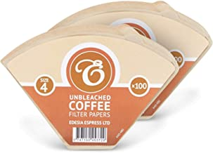 200 Size 4 Coffee Filter Paper Cones, Unbleached by EDESIA ESPRESS