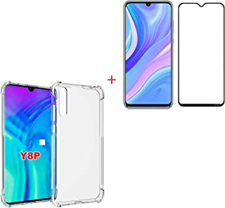 Crystal Clear Case for Huawei Y8P 2020 / P Smart S/Enjoy 10S Case with Tempered Glass Screen Protector, Flexible and soft ...