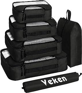 Veken 6 Set Packing Cubes, Travel Luggage Organizers with Laundry Bag & Shoe Bag (Black)