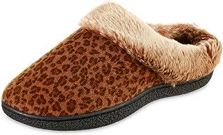 isotoner Women's Microsuede Faux Fur Indoor/Outdoor Hoodback Slipper (Cheetah, 8.5-9, 8.5)