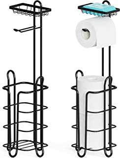 Toilet Paper Holder, Veckle 2 Pack Toilet Paper Holder Stand with Top Shelf Storage and 4 Rasied Feet Toilet Paper Storage...