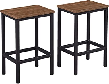 SUPERJARE Set of 2 Bar Stools, Industrial Barstools Chairs and Footrest with Steel Frame, Pub Kitchen Counter Height Bar Chai