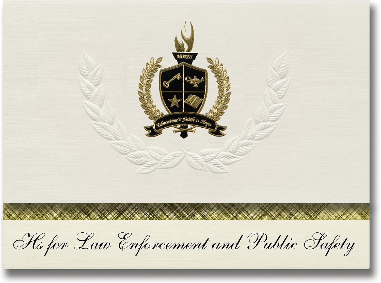 Signature Announcements Hs for Law Enforcement and public Safety (Jamaica, NY) Graduation Announcements Presidential, Basic Pack 25 mit Gold & schwarz Metallic Folienversiegelung B0795ZHB1V   Starke Hitze- und Abnutzungsbeständigkeit
