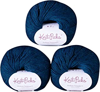 Knit Picks Andean Treasure Baby Alpaca Sport Weight Yarn - 3 Pack with Free Patterns (Sapphire Heather)