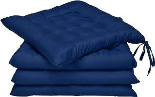 Set 4 - Beautissu Lea - comodísimos Cojines para sillas - Vivienda o terraza - 40 x 40 x 5 cm - Azul Marino