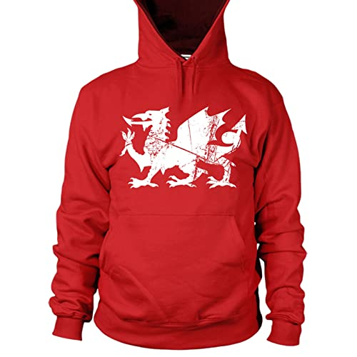 0acd6fd57e249 Welsh Dragon Rugby Hooded Sweatshirt Hoodie - Winter Gifts for Men and  Children Sizes L10