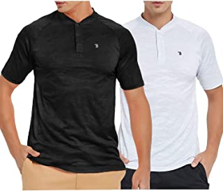 TBMPOY Men's Quick Dry Printed Mesh Casual Work Sports Henley Shirt Short Sleeve
