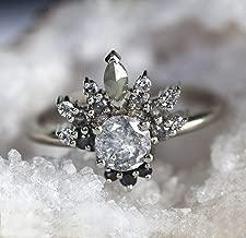 unique salt pepper cluster diamond ring
