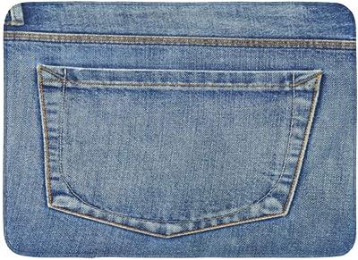 LnimioAOX Alfombrillas Alfombras de baño Alfombrilla para Exterior/Interior Azul País Vacío Bolsillo Trasero de Jeans Vaquero Lienzo Abstracto Occidental Decoración de baño Alfombra Alfombra de baño