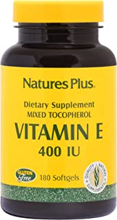 NaturesPlus Vitamin E - 400 iu Mixed D-Tocopherol, 180 Softgels - Easy to Swallow Vitamin E Supplement, Derived from Natur...