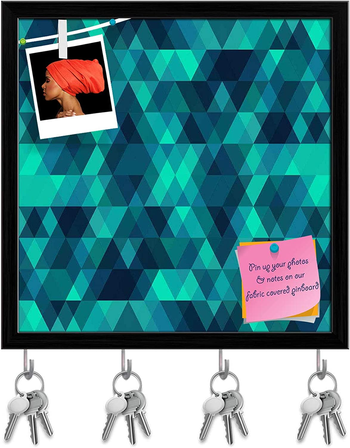 Artzfolio Creative Triangles D2 Key Holder Hooks   Notice Pin Board   Black Frame 20 X 20Inch