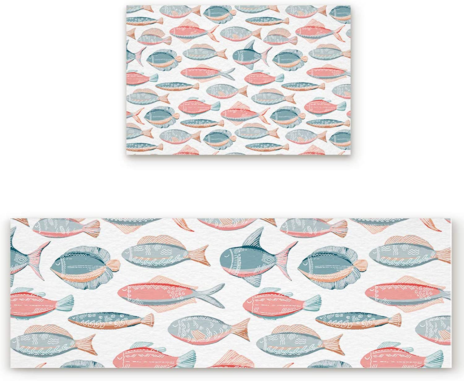 2 Piece Non-Slip Kitchen Bathroom Entrance Mat Absorbent Durable Floor Doormat Runner Rug Set - Japanese Hand-Painted Fishes