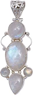 Blue Sapphire and Cultured Pearl Floral Pendant - Sterling-Silver