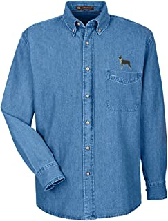 Boston Terrier Embroidered Men's 100% Cotton Denim Shirt